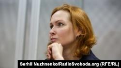 Defendant Yulia Kuzmenko is seen in a Kyiv court on August 25.