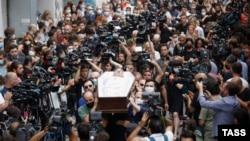 Кадър от погребението на Лексо Лашкарава, Грузия, 13 юли 2021 г.