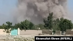 Smoke from the car-bomb attack in Nangarhar Province.