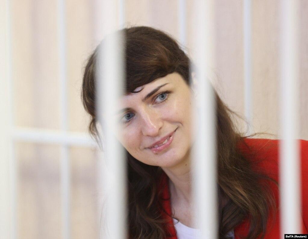Кацярына Барысевіч падчас суду. 19 лютага 2021 года