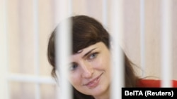 Journalist Katsyaryna Borisevich at her court hearing in Minsk on February 19.