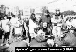 """The Revolution On Granite had many characteristics that became standard features of subsequent protests. """"The square, the occupation, the stage, the singing, the merriment...that was a typically Ukrainian thing,"""" says Olga Onuch of the University of Manchester."""