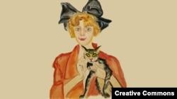 Ирина Одоевцева. Портрет работы Владимира Милашевского, 1922