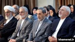 Iranian foreign minister Mohammad Javadi Zarif (R) and his predecessors Ali Akbar Larijani and Kamal Kharazi, in a meeting with Supreme Leader Ali Khamenei on July 21, 2018.