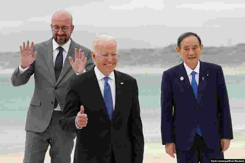 Američki predsjednik Joe Biden, japanski premijer Yoshihide Suga i predsjednik Evropskog vijeća Charles Michel