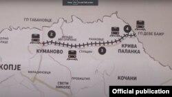 Мапа за планираната железничка пруга до Бугарија