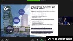 Прес конференција за парцелата 1.1 спроти хотелот Холидеј ин во центарот на Скопје