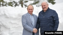 Russian President Vladimir Putin (left) meets with Belarusian counterpart Alyaksandr Lukashenka in Sochi on February 22.