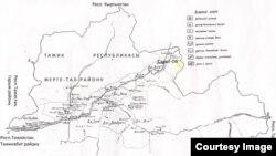 Тажикстандын Жерге-Тал (азыркы Лахш) районунун кыргызча картасы. Бул район, коңшу Мургап району менен биргеликте, 1925-жылдын 2-январына чейин Кара-Кыргыз автоном районуна таандык болгон.