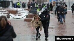 Задержания участников акции в поддержку российского оппозиционера Алексея Навального. Москва, 23 января 2021 года