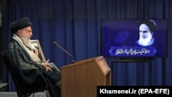 Iranian Supreme Leader Ayatollah Ali Khamenei addresses the nation in a live televised speech, in Tehran, June 3, 2020