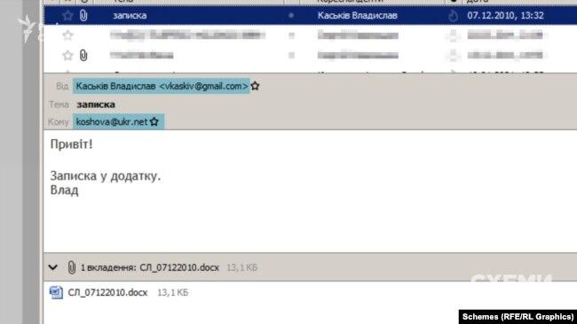 Інше листування того періоду підтверджує: Каськів регулярно звітував Сергієві Льовочкіну, який тоді очолював Адміністрацію президента Януковича