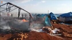 Авиаудар по лагерю беженцев в Сирии
