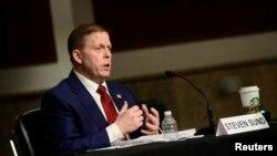 Бывший глава полиции Капитолия Стивен Сунд выступает на слушаниях в конгрессе. Вашингтон, 23 февраля 2021 года.