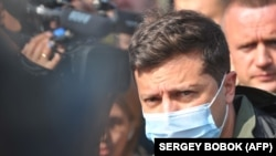 Ukrainian President Volodymyr Zelenskiy visited the site of the plane crash on September 26.