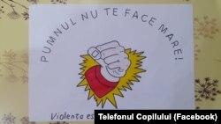 Desen realizat de copii la Arad / program al celor de la Asociația Telefonul Copilului