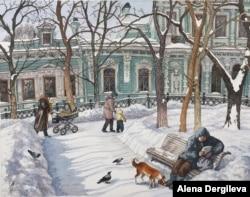 Locals enjoy a sunny winter day on Gruzinskaya Square.