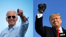 На составном фото - бывший вице-президент Джо Байден (слева) и действующий президент США Дональд Трамп.