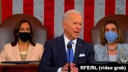 Американскиот претседател Џо Бајден во својот прв говор на заедничката сесија на Конгресот