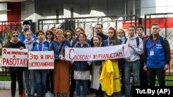 Акція журналістів на підтримку затриманих колег, Мінськ, 2 вересня 2020 року