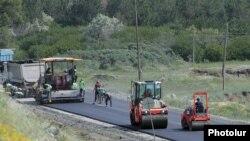 Armenia -- Workers rebuild a road in Gegharkunik province, Juy 4, 2020.