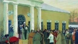 Борис Кустодиев. Чтение Манифеста. 1907