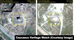 Satellite images released by Caucasus Heritage Watch show the erasure of the Zoravor Holy Mother of God Church in Jebrayil.