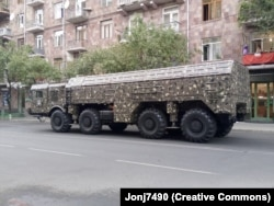 An Iskander missile transporter being paraded through Yerevan in 2017