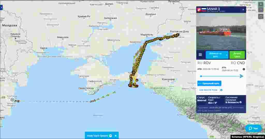 Путь танкера Sanar-3