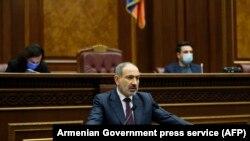 ARMENIA -- Armenian Prime Minister Nikol Pashinian addresses the parliament in Yerevan, November 16, 2020