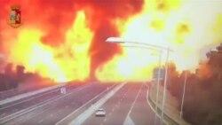 Авария и взрыв бензовоза в Болонье попали на видео