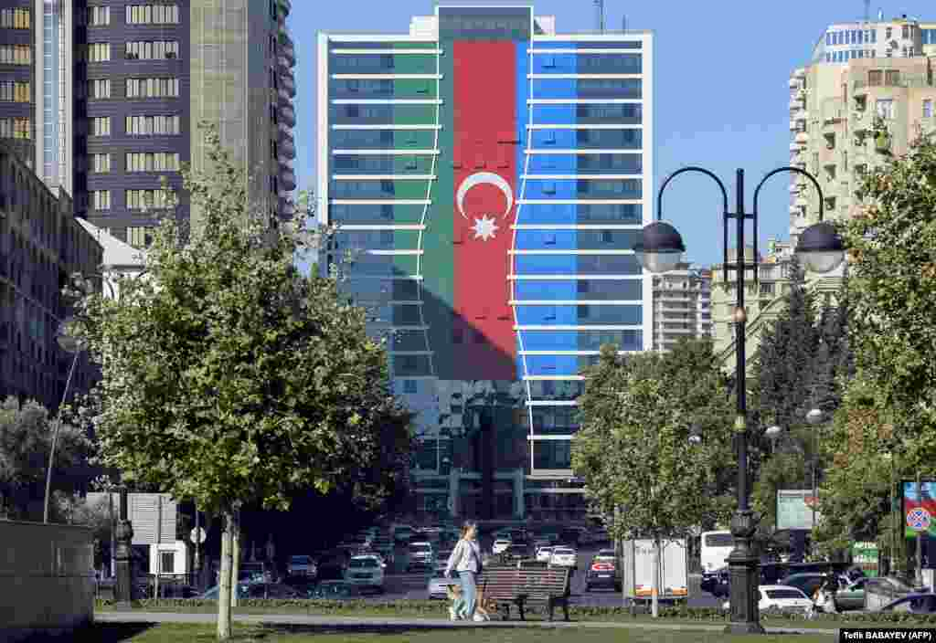 A Baku building is seen painted with the Azerbaijan flag on October 13.