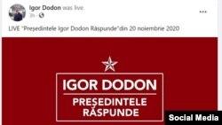 Președintele în exercițiu Igor Dodon revine, pe Facebook, la sigla socialistilor, 20 noiembrie 2020