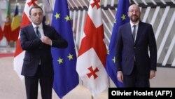 Եվրոպական խորհրդի նախագահ Շառլ Միշել և Վրաստանի վարչապետ Իրակլի Ղարիբաշվիլի, արխիվ