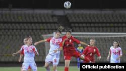 Женская сборная Кыргызстана по футболу с соперницами из Таджикистана, 14 июня 2021 г.