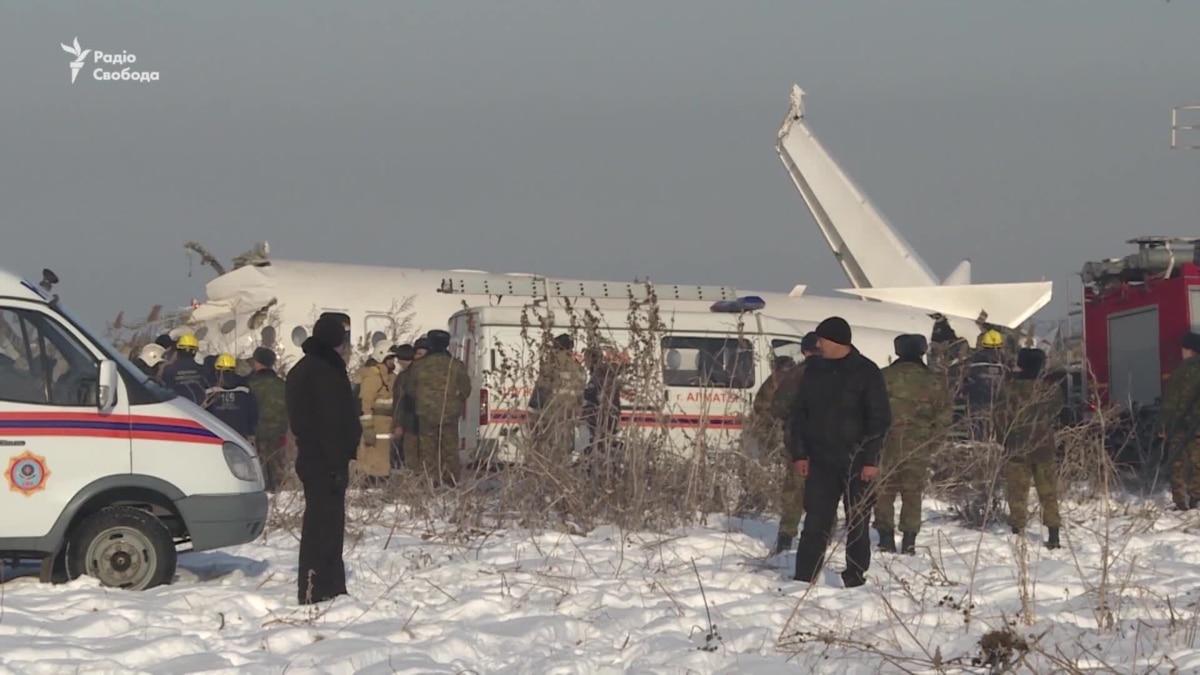 Последствия авиакатастрофы в Казахстане – видео