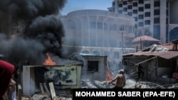 Gaza gjatë luftimeve mes Izraelit dhe Hamasit më 17 maj.