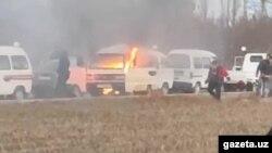 11 январь куни Тўрақўрғондаги газ қуйиш шохобчасида навбатда турган Damas автомобили, ИИВ ЙҲХББ га кўра, электрдаги қисқа туташув натижасида ёниб кетган