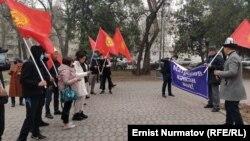 Участники митинга в поддержку Райымбека Матраимова в Бишкеке. 19 февраля 2021 года.