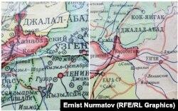 Кыргыз ССРинин 1952-жылкы жана 1968-жылкы картасы. Эки карта тең Москвада басылган. Мында азыркы суу сактагычтын орду бош болгон.