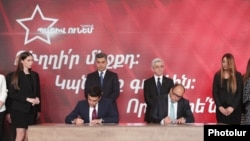 Armenia - Former President Serzh Sarkissian and former National Security Service Director Artur Vanetsian preside over the official establishment of an opposition alliance comprising their political parties, May 15, 2021