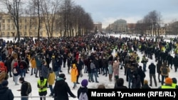 Russia - protest on January 31, 2021, St. Petersburg
