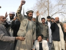 Afghanistan - Afghan men protest against the publication of drawings depicting the Prophet Muhammad, Kabul, 04Mar2008