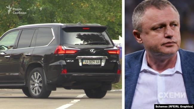Журналісти одразу зафіксували заїзд автівки, яка, за даними джерел в поліції, належить президенту футбольного клубу «Динамо» Ігорю Суркісу