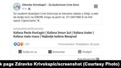 "Poziv sa Facebook stranice Zdravka Krivokapića, nosioca liste ""Za budućnost Crne Gore"", studentima u Srbiji da o organizovanju prevoza za izbore 30. avgusta."