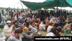 A view of the sit-in protest in the rural town of Jani Khel in Pakistan's northwestren province of Khyber Pakhtunkhwa.