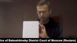 Критичарот на Кремљ Навални, кој е обвинет за клевета на руски ветеран од Втората светска војна, 16 февруари 2021 година.