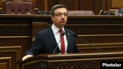 Armenia -- Gevorg Gorgisian of the opposition Bright Armenia Party speaks during a parliament session in Yerevan.