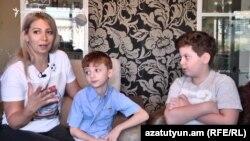 Armenia -- Lebanese Armenian Aline Galemkerian and her children, Yerevan, September 4, 2020.