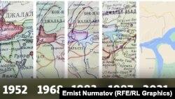 """""""Кемпир-Абад"""" же """"Анжиян"""" суу сактагычы жайгашкан кыргыз-өзбек чек арасынын ар кайсы жылдардагы өзгөрүшү. 1953-жылдагы, 1968-жылдагы, 1983-жылдагы, 1987-жылдагы жана 2021-жылдагы карта."""